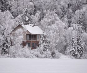 Cabin in the snow Stock Photo 10