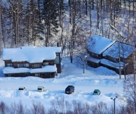 Cabin in the snow Stock Photo 12