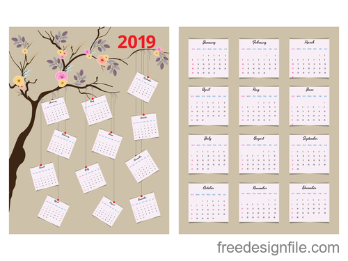 Calendar 2019 with tree vector