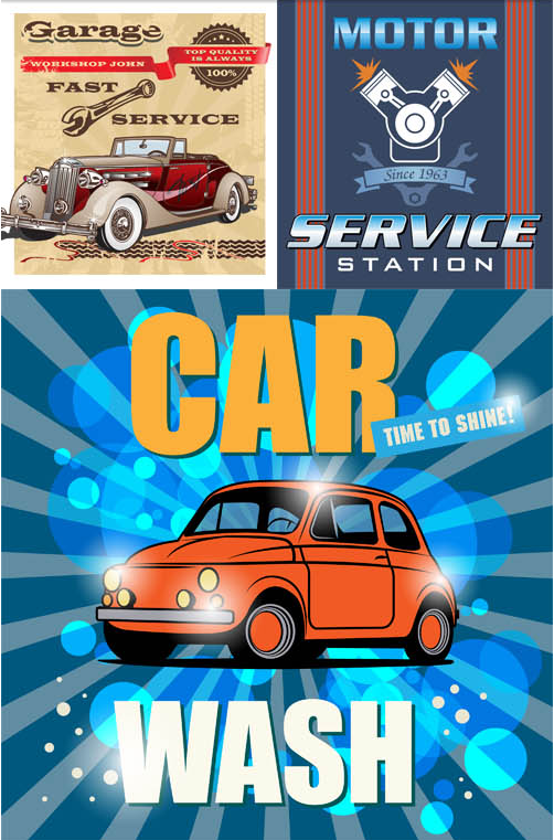 Car Service Backgrounds 2 vectors