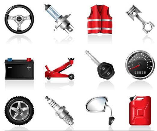 Car Service Shiny Icons vector