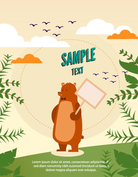 Cartoon Bear background 3 vector material
