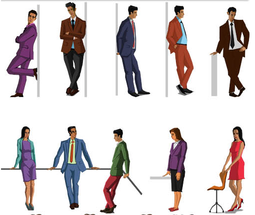 Cartoon Business People 2 set vector