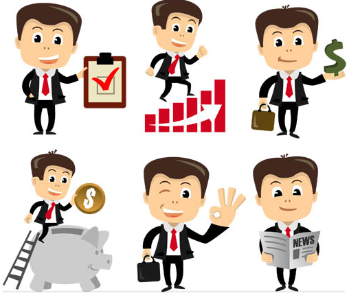Cartoon Businessman 3 vectors graphic