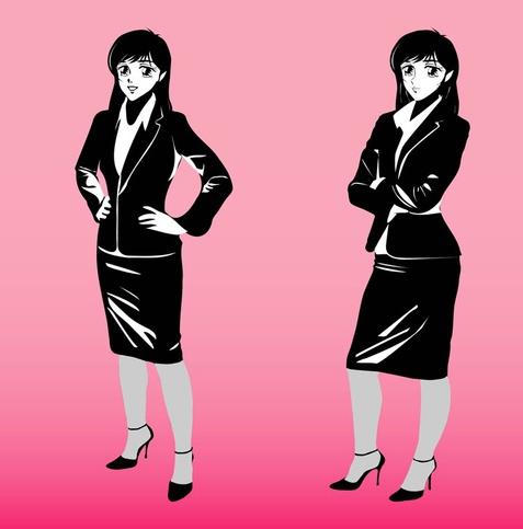 Cartoon Business women art Illustration vector