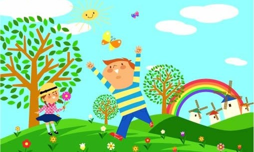 Cartoon Childrens with ecological environment 2 vectors