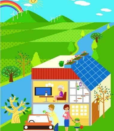 Cartoon Childrens with ecological environment 6 vector