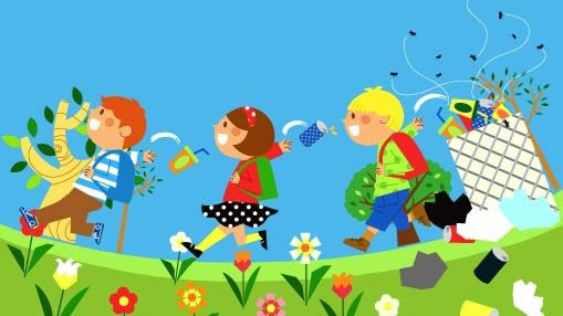 Cartoon Childrens with ecological environment 8 vector