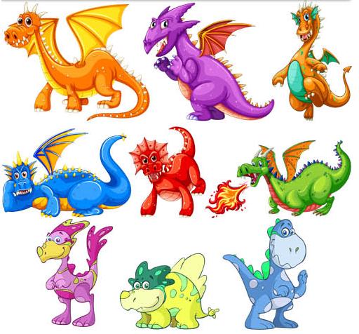 Cartoon Dino Set vectors graphic