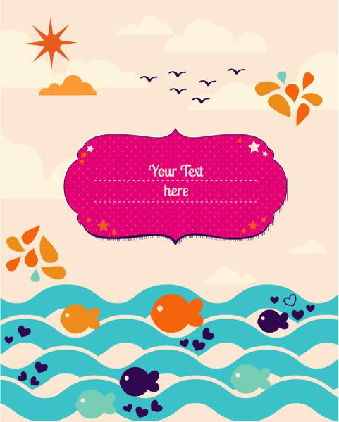 Cartoon Fish background 1 vector