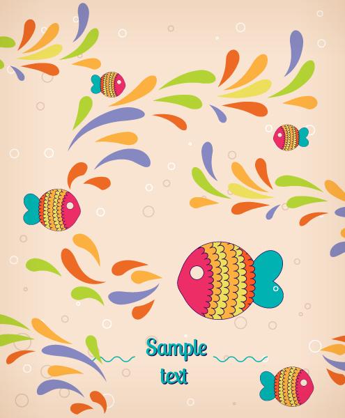 Cartoon Fish background 2 vector