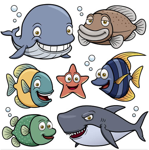 Cartoon Marine Animals Mix vector design