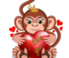 Cartoon Monkey with heart vector