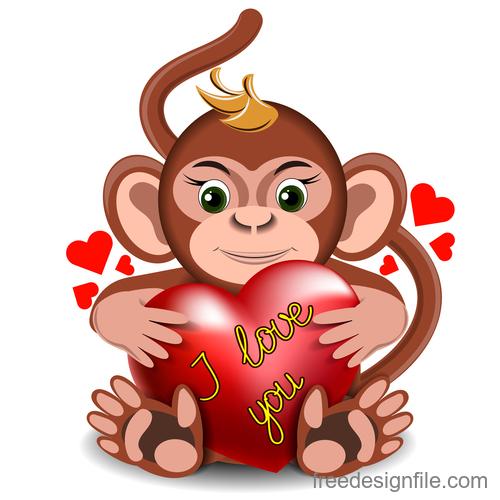 Cartoon Monkey with heart vector