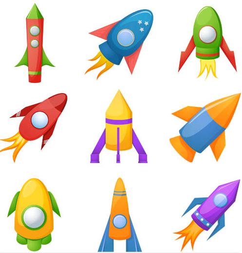 Cartoon Rockets vector