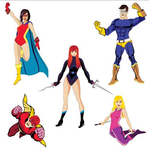 Cartoon Superheroes set vector