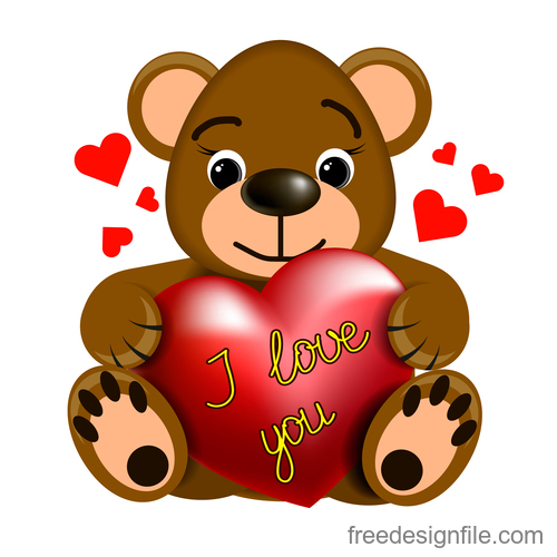 Cartoon Teddy bear with heart vector