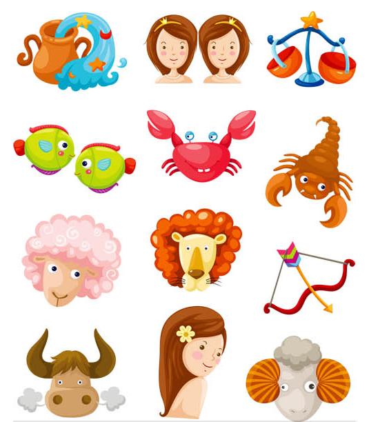 Cartoon Zodiac Symbols Set creative vector
