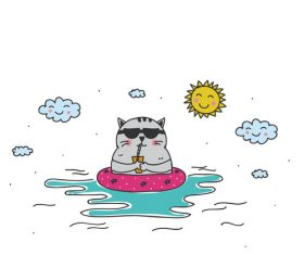 Cartoon animal cat leisure vacation beach vector 01