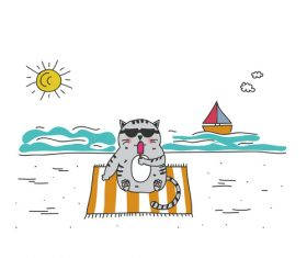Cartoon animal cat leisure vacation beach vector 02