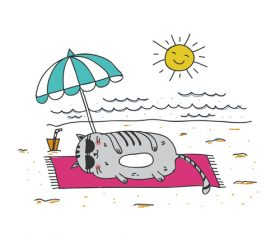 Cartoon animal cat leisure vacation beach vector 03