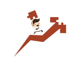 Cartoon business man rising vector