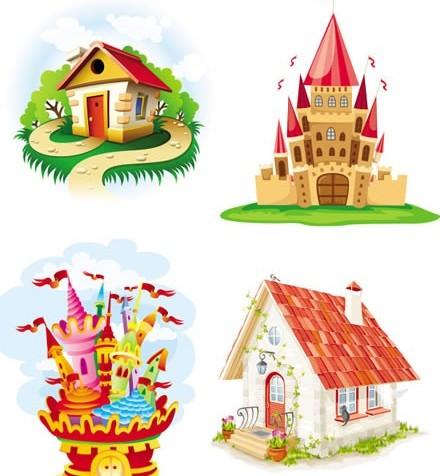 Cartoon castle and house vector