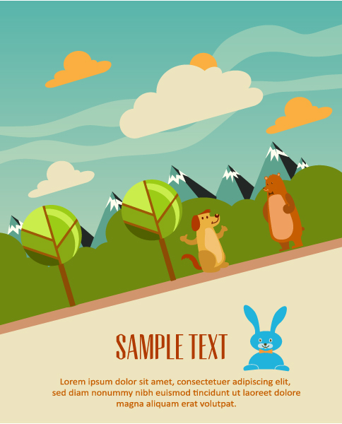 Cartoon clouds and animals background 6 creative vector