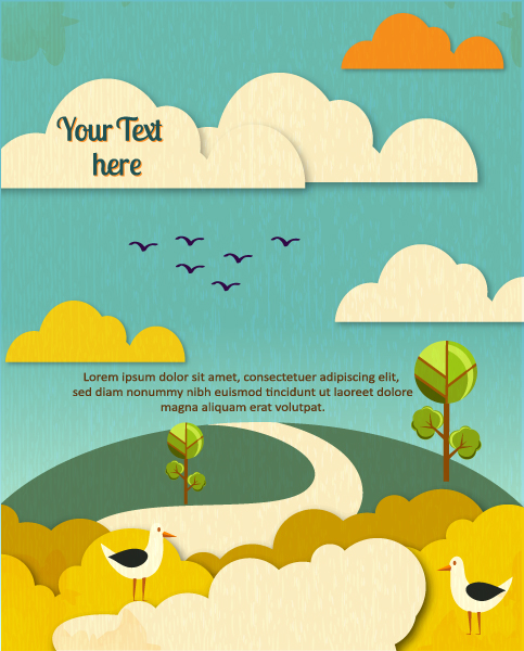 Cartoon clouds and animals background 7 vector