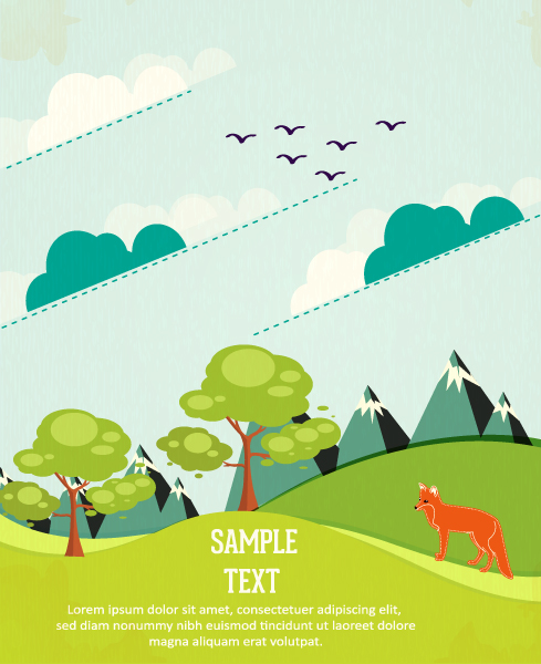 Cartoon clouds and animals background 8 vector