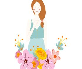 Cartoon flower with young girl vector