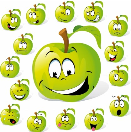 Cartoon fruit expression 02 vector