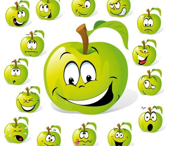 Cartoon fruit set 1 design vectors
