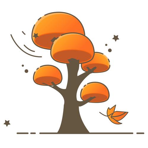 Cartoon hand drawn autumn tree vector