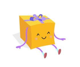 Cartoon hand drawn cute gift box vector
