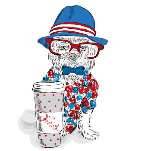 Cartoon hand drawn funny dog vector 04