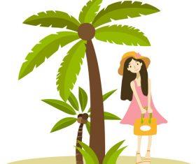 Cartoon hand drawn schoolgirl travel vector