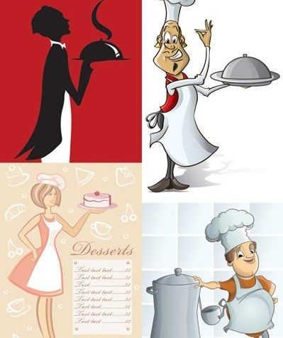 Cartoon image waiter vectors graphic