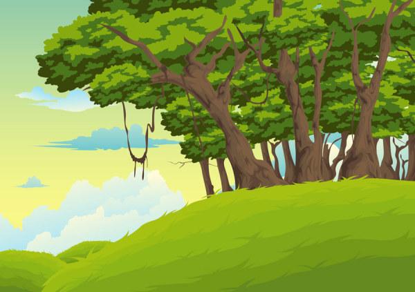 Cartoon Jungle Background 07 Vector Free Download