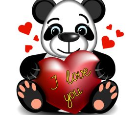 Cartoon panda with heart vector