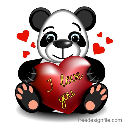Cartoon panda with heart vector