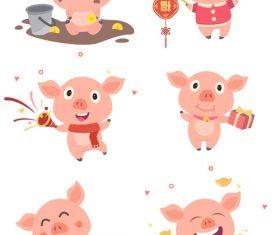 Cartoon pig new year set illustration vector