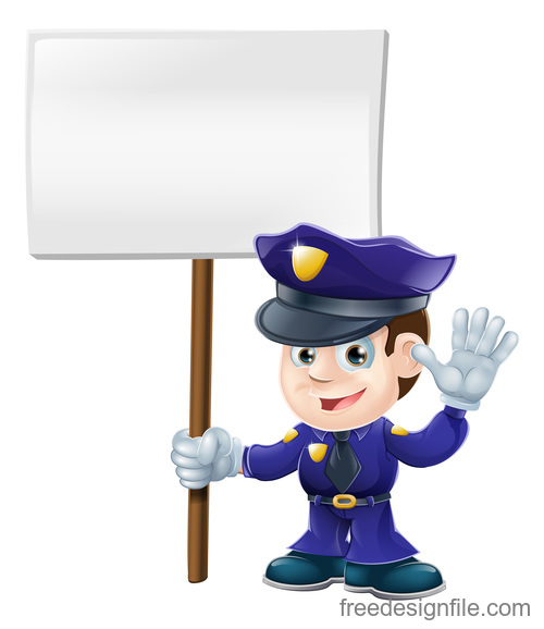 Cartoon police with sign board illustration vector