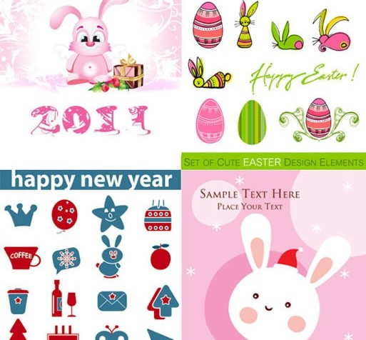 Cartoon rabbit and icon vectors