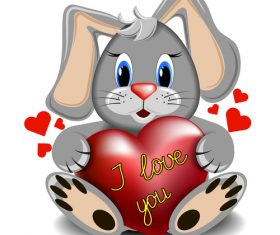 Cartoon rabbit with heart vector
