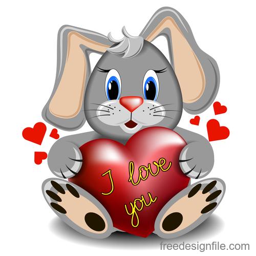 Cartoon rabbit with heart vector
