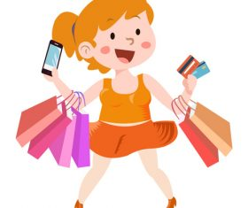 Cartoon shopping character girl vector