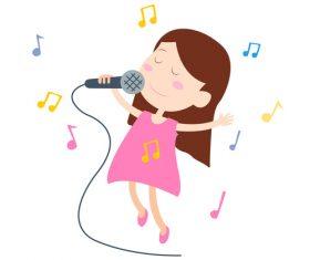Cartoon singing little girl vector