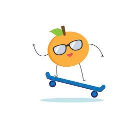 Cartoon skateboarding orange hand drawn vector