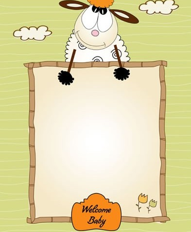 Cartoon small sheep stationery vector